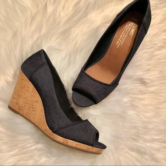 f49f46e0a4 Toms Shoes | Stella Peep Toe Wedges Size 85 | Poshmark